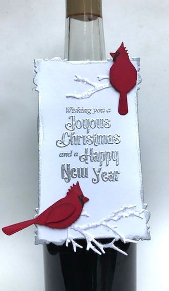 Elegant and Easy Holiday Card and Coordinating Bottle Tag