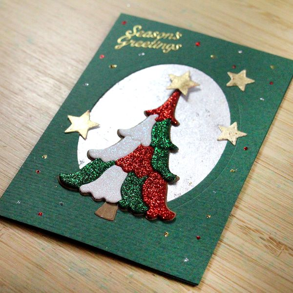 Glittering Patchwork Christmas Tree Card