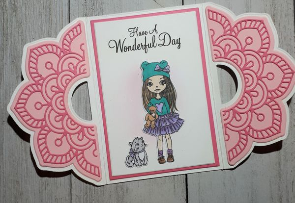 Girl With Cat Card Design